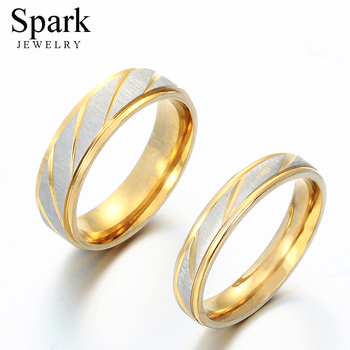 Spark Titanium Steel Personalize Engrave Lovers Couple Rings Gold Wave Charms Wedding Engagement Ring for Women Men Jewelry Gift delicate titanium steel rhinestone ring jewelry for men
