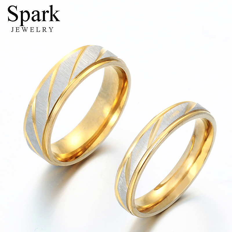 Spark Titanium Steel Personalize Engrave Lovers Couple Rings Gold Wave Charms Wedding Engagement Ring for Women Men Jewelry Gift