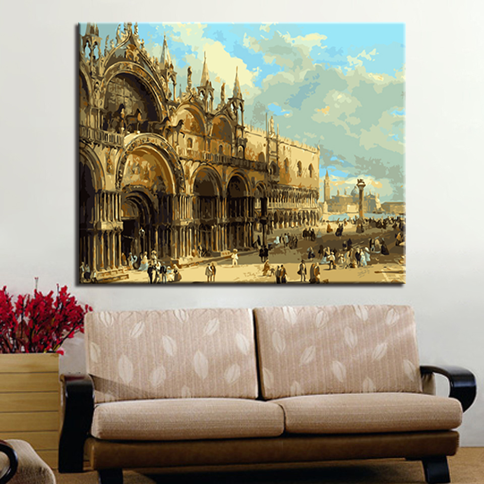 Abstract Castle Diy Digital Painting By Numbers Hand Painted Canvas Oil Paintings Home Decoration Unique Gift With Arts