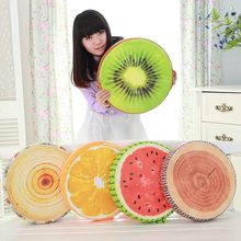 [ Funny] 40cm 3D Fruit Orange/Kiwi/watermelon/stump cotton toy doll model office Sofa car Cushion plush Stuffed Toy hold Pillow(China)