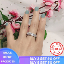 YANHUI Eternity Band Promise Ring 925 Sterling Silver AAAAA CZ Engagement Wedding Rings for Women Men Finger Party Jewelry Gift newshe pear shape blue side stones aaa cz solid 925 sterling silver wedding ring set engagement band fashion jewelry for women