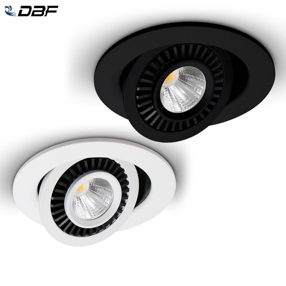 [DBF] obrotowy kąt LED oprawa wpuszczana 5W 7W 10W 15W 18W oświetlenie sufitowe LED punktowe 3000 K/4000 K/6000 K czarny/biały obudowa światła