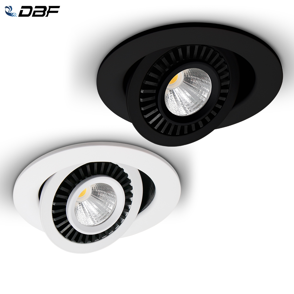 DBF Rotatable Angle LED Recessed Downlight 5W 7W 10W 15W 18W LED Ceiling Spot Light 3000K 4000K 6000K Black White Housing Light