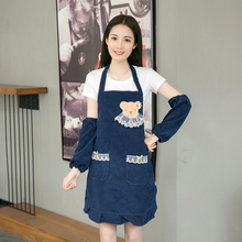 Fashion double apron waterproof oil-proof manicure work clothes kitchen coffee shop lovely princess cooking jacket