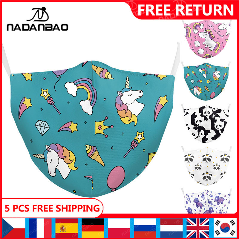 NADANBAO Cartoon Mask Print Face Women Masks Cute Kawaii Reusable Pink Unicorn Masks Fabric Cosplay Face Animal Printing