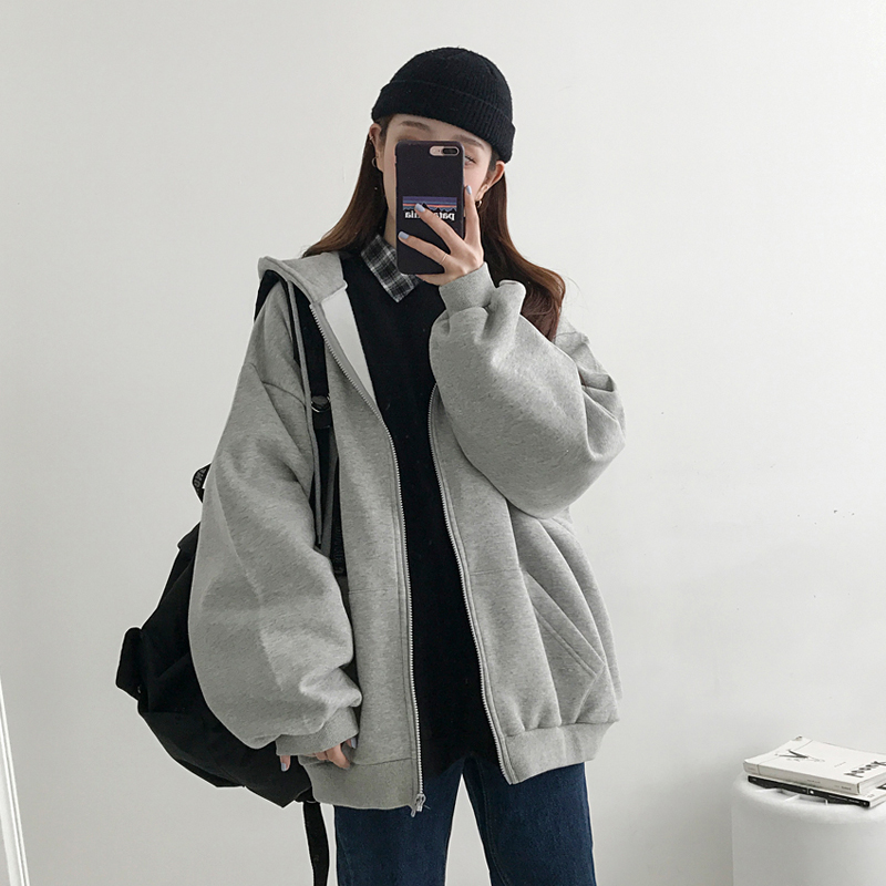 Autumn Winter Thicken Solid Color Warm Sweatshirts Women Simple Loose Zipper Hooded Clothes Female Harajuku Fleece Warm Tops