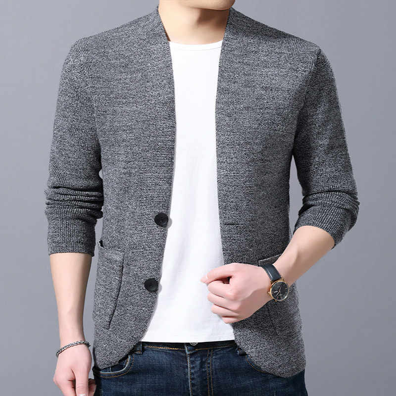 Men's thick knit cardigan knitwear autumn/winter v-neck breasted warm sweater coat casual solid men's cardigan coat men's