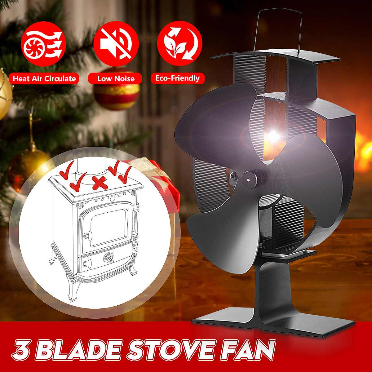 Black 3 Blades Heat Powered Stove Fan Log Wood Burner Ecofan Quiet Black Home Fireplace Fan Efficient Heat Eco Stove Top Fan