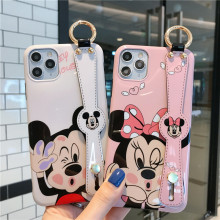 Glossy Cartoon Mickey Minnie Phone Case For iPhone 11 Pro Max X XR XS Max 7 8 Plus Wrist strap lanyard Back Cover Capa Fundas