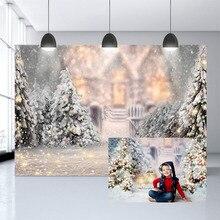 חג המולד רקע עץ נואל מסיבת צילום רקע חם אורות נוצץ חורף פתית שלג תמונה סטודיו דיוקן רקע