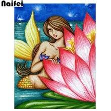 "5D DIY Diamond Painting ""pink lotus flower Summer Mermaid"" Embroidery Full Square/round Diamond Cross Stitch Rhinestone Mosaic Decor Gift(China)"