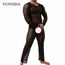 Mens Clothes Set Sexy Men Undershirts Long Sleeve T-shirts Mesh Fishnet See Through Tops Hollow Out Long Johns Pants Trousers