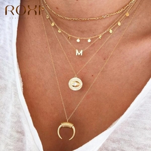 ROXI Fashion Glossy Collares 925 Sterling Silver 26 English Alphabet Pendant Necklace for Women Girls Gift Letter Snake Chain