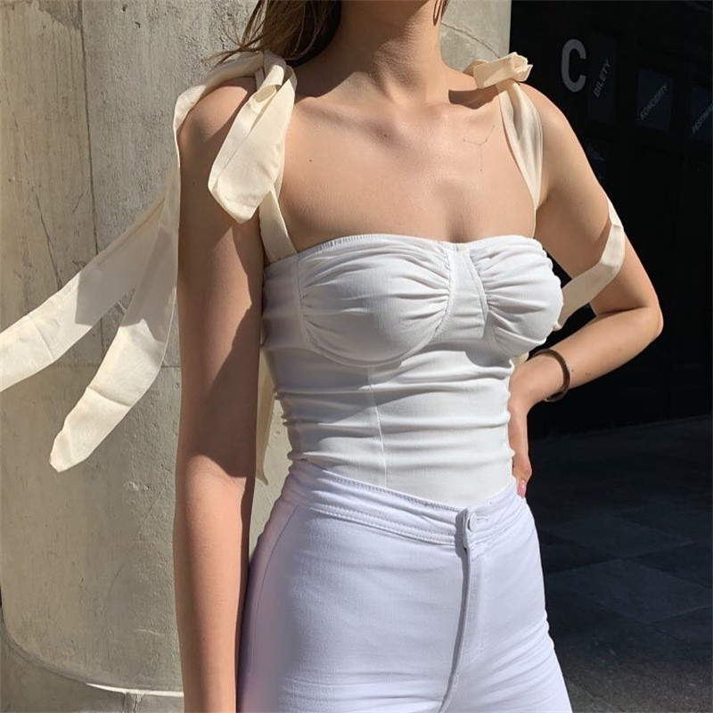 Women Straps Vest Tops Sleeveless Fashion <font><b>Shirt</b></font> <font><b>Push</b></font>-<font><b>up</b></font> Tube Cropped Clothes Bow Tie Shoulder Ruched Bodycon Slim Club Tank Top image