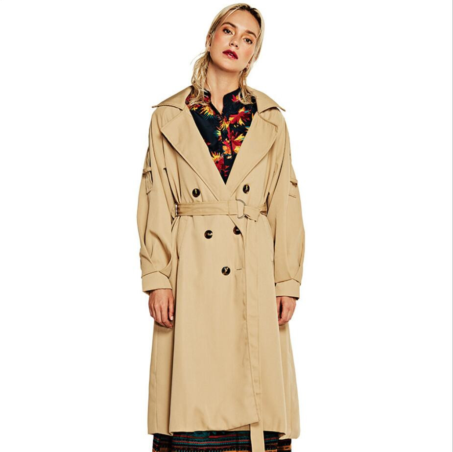 2019 Autumn Women Double Button   Trench   Women's Long Classic Windbreaker   Trench   Coat Outwear Elegant Lady Fashion Overcoat r1604