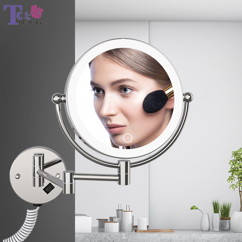 LED Makeup Mirror With Plug 5X Magnifying Folding Wall Illuminated Mirror Double Sided Touch Bright Adjustable Bathroom Mirrors