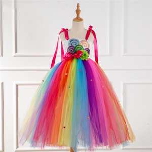 Image 2 - Fancy Rainbow Candy Costume Cosplay For Girls Halloween Costume For Kids Carnival Party Suit Dress Up