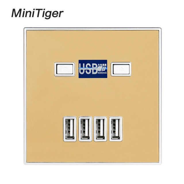הגעה חדשה באיכות גבוהה 4-יציאת מהיר מטען בית שימוש קיר שקע חשמל USB לשקע חשמל 86*86mm 4000MA