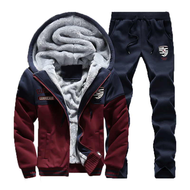 Winter New Mens Casual Sportwear Suit Designer Embroidery Male Thicken Baseball Jersey Suit For Men Fleece Suits 4XL