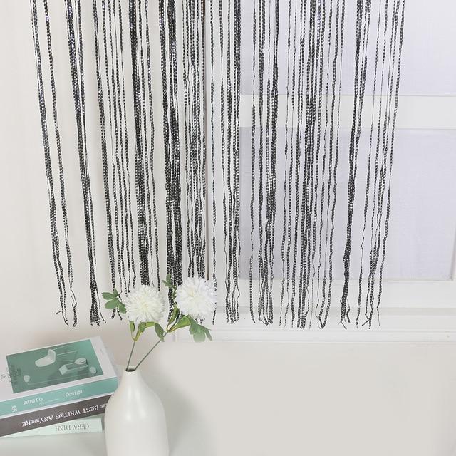 100x200cm Home Divider Sheer Door Window Decor Tassel Panel Shiny String Curtain String Sheer Curtain For Kitchen Living Room 6