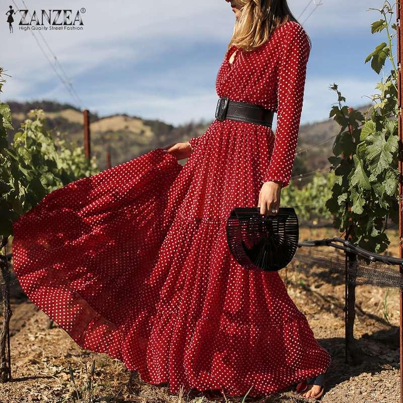 Bohemian Polka Dot Printed Maxi Dress Women Spring Long Sleeve Sundress ZANZEA 2021 Vintage Ruffles Holiday Long Vestidos S-5XL