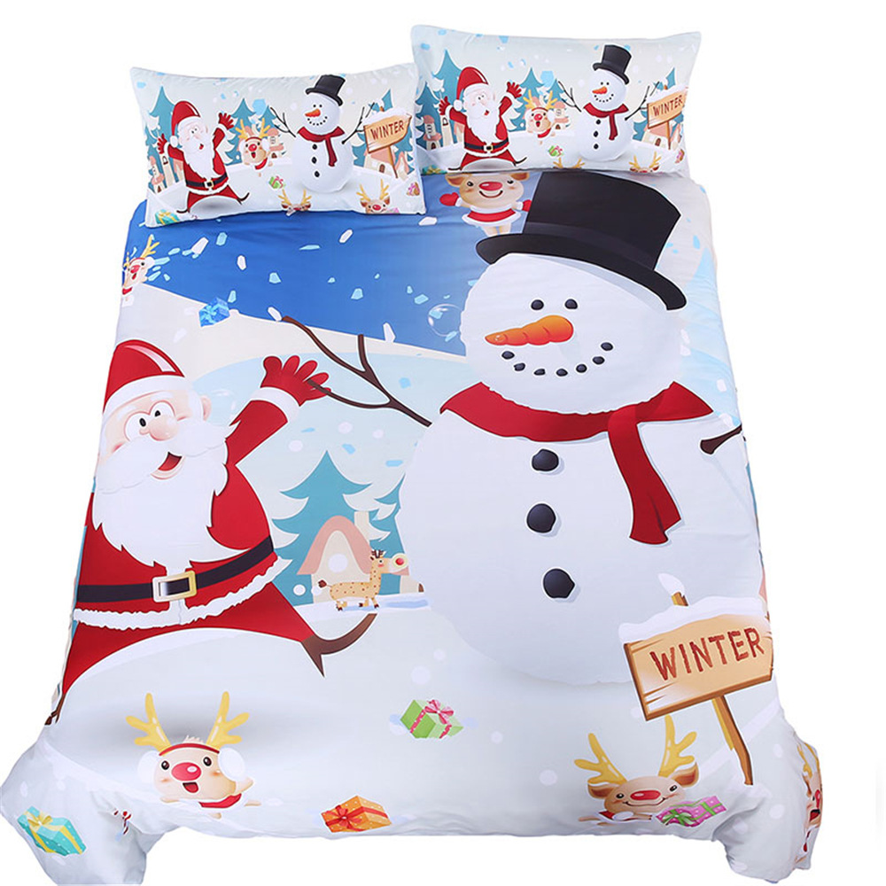 Christmas Home Textile Bedding Set Cartoon Snowman Santa Claus Duvet Cover Soft Comforter Children's Bedding Sets Pillowcase G