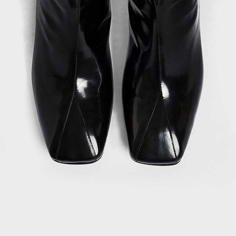 פטנט עור עבה העקב קרסול מגפי נשים אנגליה סגנון כיכר הבוהן עקב גבוהה מגפי סתיו שחור צ 'לסי מגפי Zapatos דה mujer
