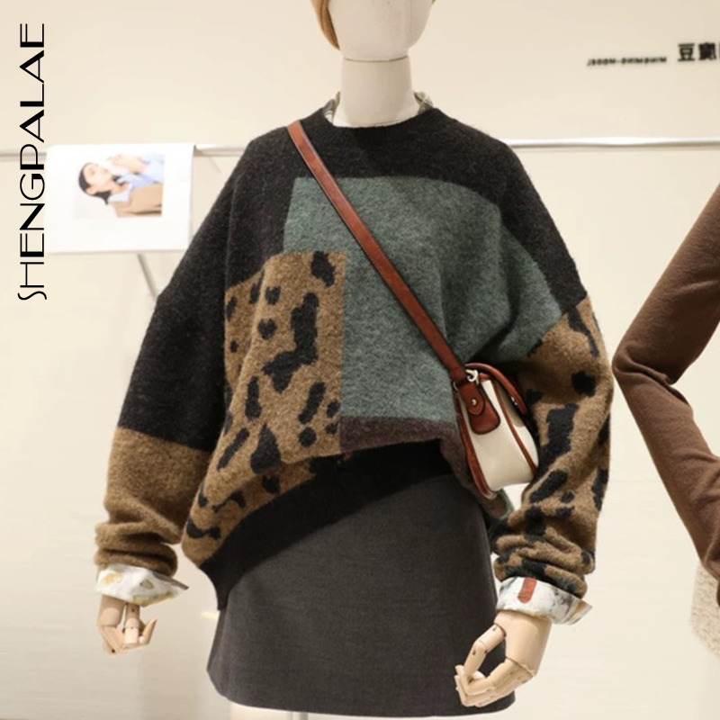SHENGPALAE 2021 New Autumn Long Sleeve Jumper Knitted Loose Fashion Pullover Femme Leopard Hit Color Sweater ZA5272