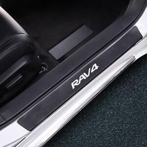 Conjunto de 4 Uds de fibra de carbono protector de alféizar de puerta de coche pegatinas de estilo de coche para Toyota Chr RAV4 Yaris Avalon Camry Highlander Fortuner