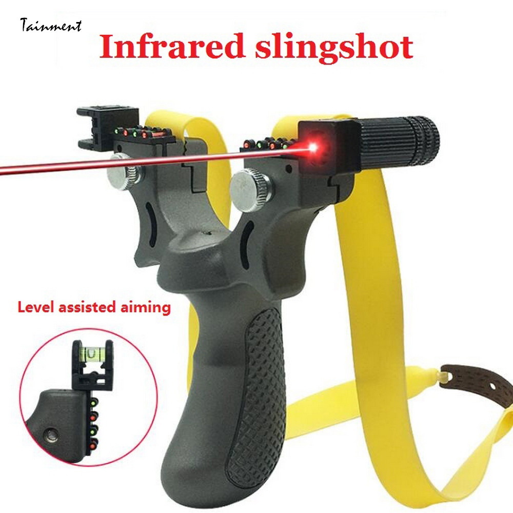 98K Infrared Aiming Slingshot with Flat Rubber Band Durable High Precision Aiming Slingshot for Outdoor Game, Hunting, Shooting