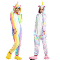 Adultes Kigurumi animaux pyjamas ensembles hiver flanelle vêtements de nuit de dessin animé licorne pyjamas Unicornio arc-en-ciel étoile licorne pyjamas