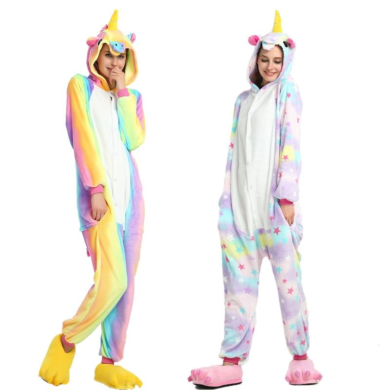 Adults Kigurumi Animal Pajamas Sets Winter Flannel Cartoon Sleepwear Unicorn  Unicornio Rainbow Star