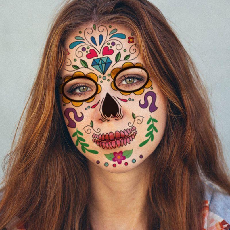 Halloween cara tatuajes temporales calcomanías Día de los muertos azúcar cráneo Floral esqueleto máscara Unisex mexicano fiesta Favor suministros