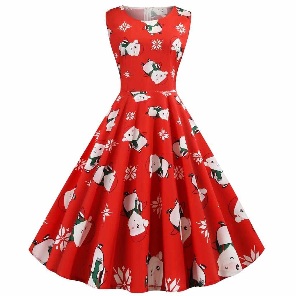 Cuello redondo gran Swing Vintage vestido de Navidad mujeres verano 50s 60s elegante vestidos de fiesta Casual manga corta vestido Floral de talla grande