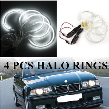 4PCS 131mm Bright CCFL 6500K Angel Eyes Halo Rings Lights Xenon LED White Headlight Bulbs Angel Eye Ring for BMW E36 E39 E46 image