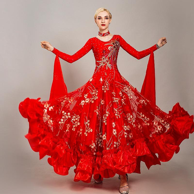 Red Embroidered Rhinestone Ballroom Women Dance Dress Waltz Tang Clothing Ladies Festival Performance Dancing Dresses DL5253