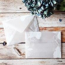 20 יח\חבילה יפה שקוף חומצה גופרתית נייר ערכות מעטפת Creative עיצובים חלומי תחרה חתונה הזמנה
