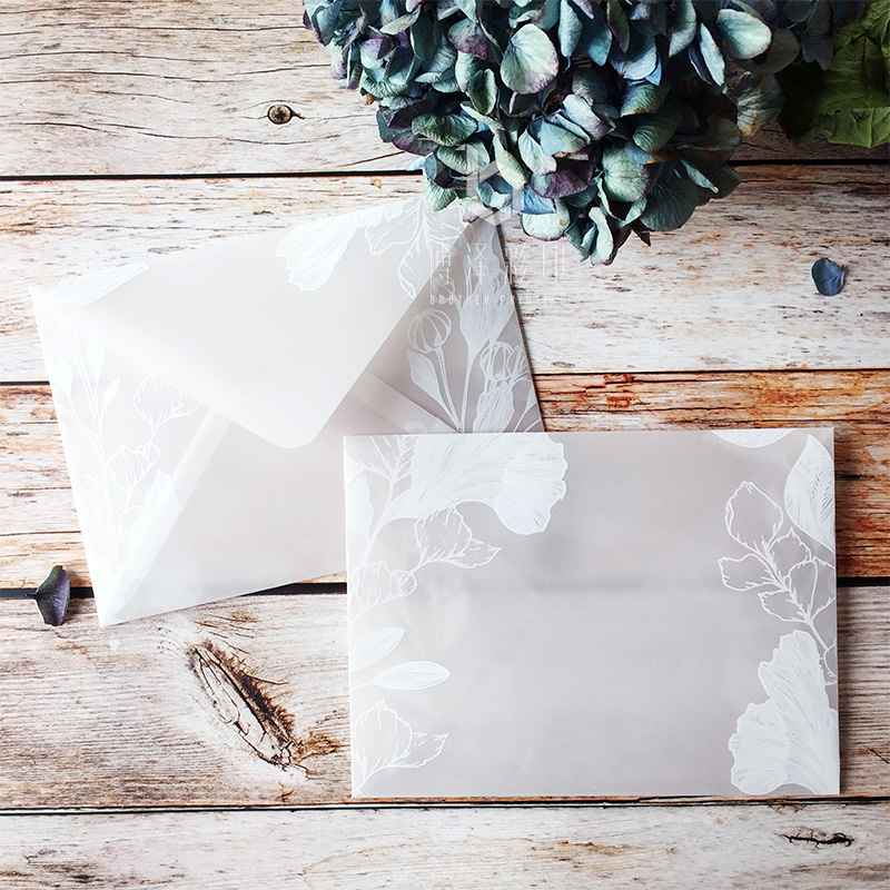 20pcs/lot Beautiful Translucent Sulfuric Acid Paper Envelope Sets Creative Designs Dreamlike Lace Wedding Invitation