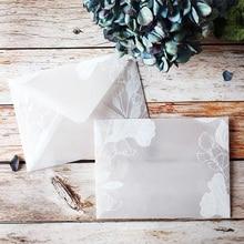 Juego de Sobres de papel de ácido sulfúrico translúcido, 20 unidades por lote, diseños creativos, invitación de boda con encaje de ensueño