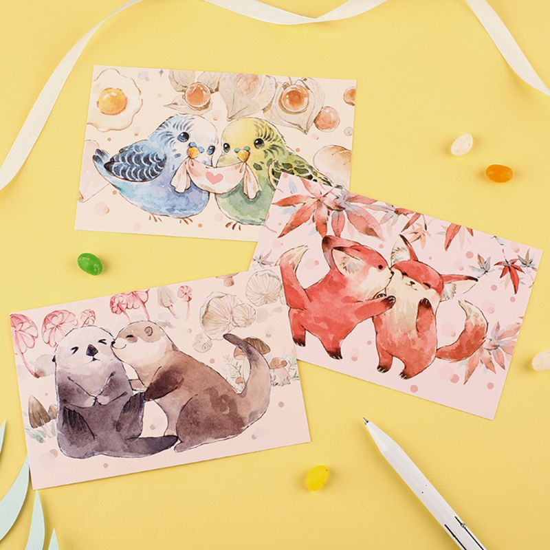 30 Pcs Soft Cute Postcards Small Courtyard Hand-Painted Watercolor Literary Letter Lovers Greeting Card Animal Small Fresh Card