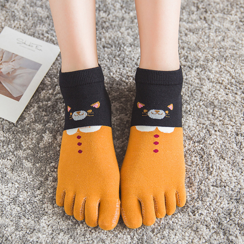 1 Pair Women Stock Socks Cartoon Toe Socks Five Finger Socks Fashion Lady Girls Cotton Funny Sock
