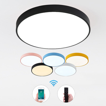 Modern Macaron Round Iron LED Ceiling Light Lamp Living Room Lighting Fixture Bedroom Kitchen Surface Mount Round Ceiling Lamps macarons ceiling lamps rose colors metal lamp body acrylic lamp shade colorful post modern ceiling light led lighting fixture