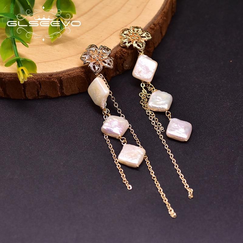 GLSEEVO Natural Fresh Water Pearl Fower Long Tassel Drop Earrings For Women Party Birthday Gifts Luxury Fine Jewelry GE0914