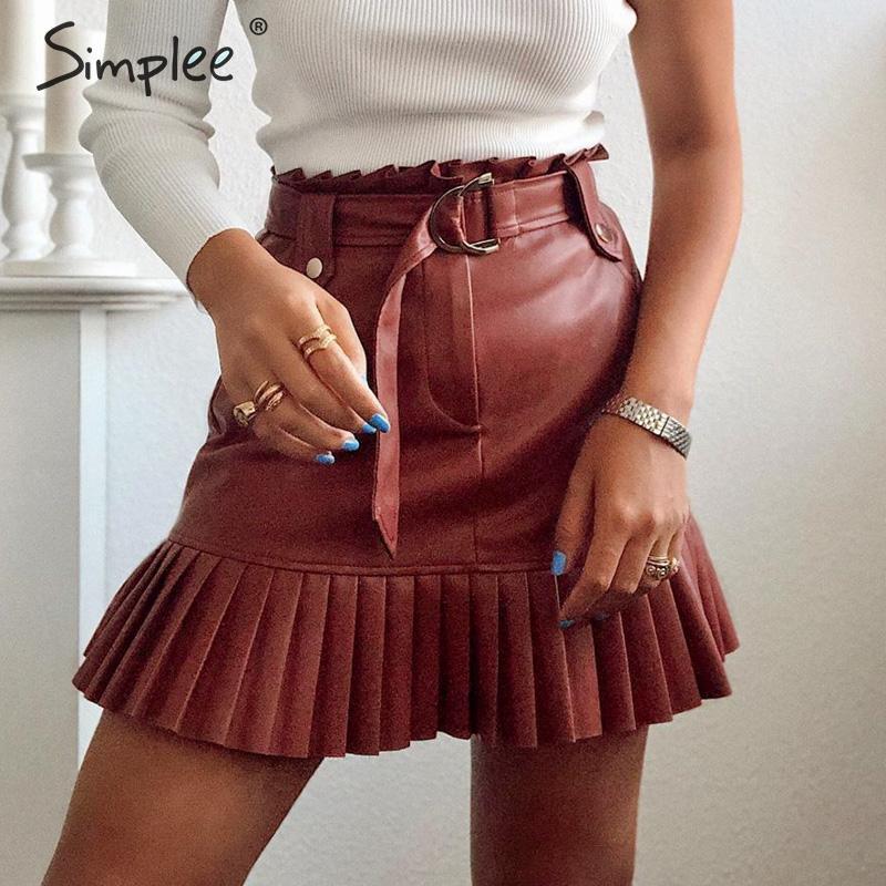Simplee Sash Belt PU Leather Women Skirt Ruffled High Waist Female Mini Skirt A-line Party Club Wear Ladies Sexy Short Skirt