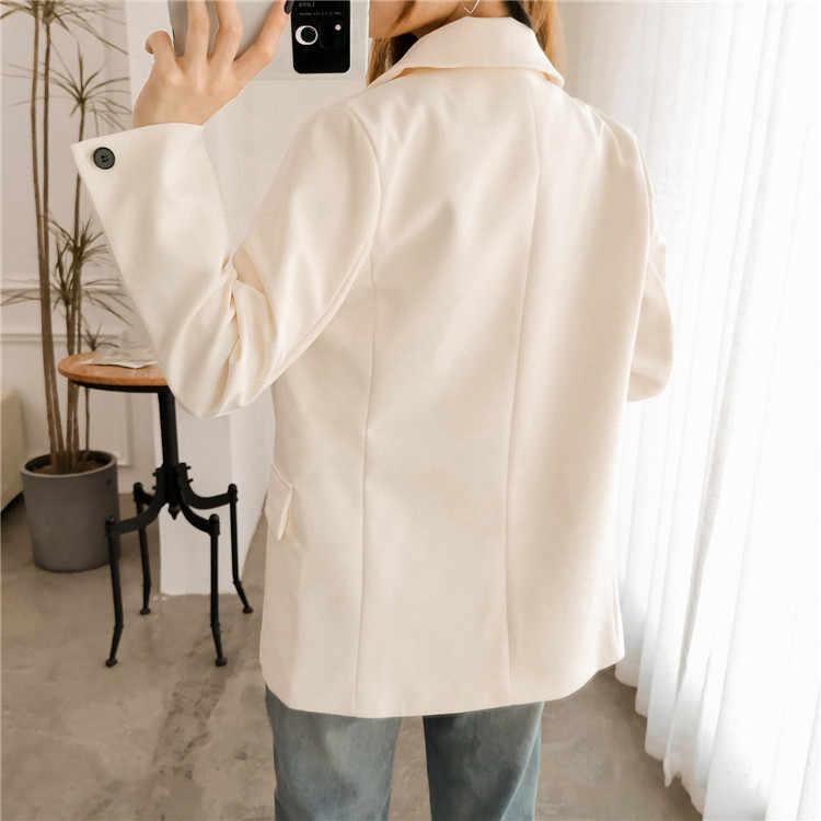 Vintage Plaid mujer Blazer doble Breasted bolsillos Chaquetas Mujer Retro trajes abrigo Feminino blazers prendas de vestir exteriores de alta calidad S0271