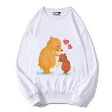 Dropshiipping Женская длинная футболка хлопок медведь мультяшный