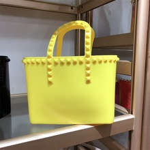 New 2020 Rivet PVC Shoulder Tote Bags Women Candy Color Women Jelly Bag