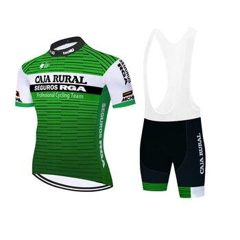 Caja rural Pro equipo ciclismo jersey 20D gel bicicleta pantalones traje de...