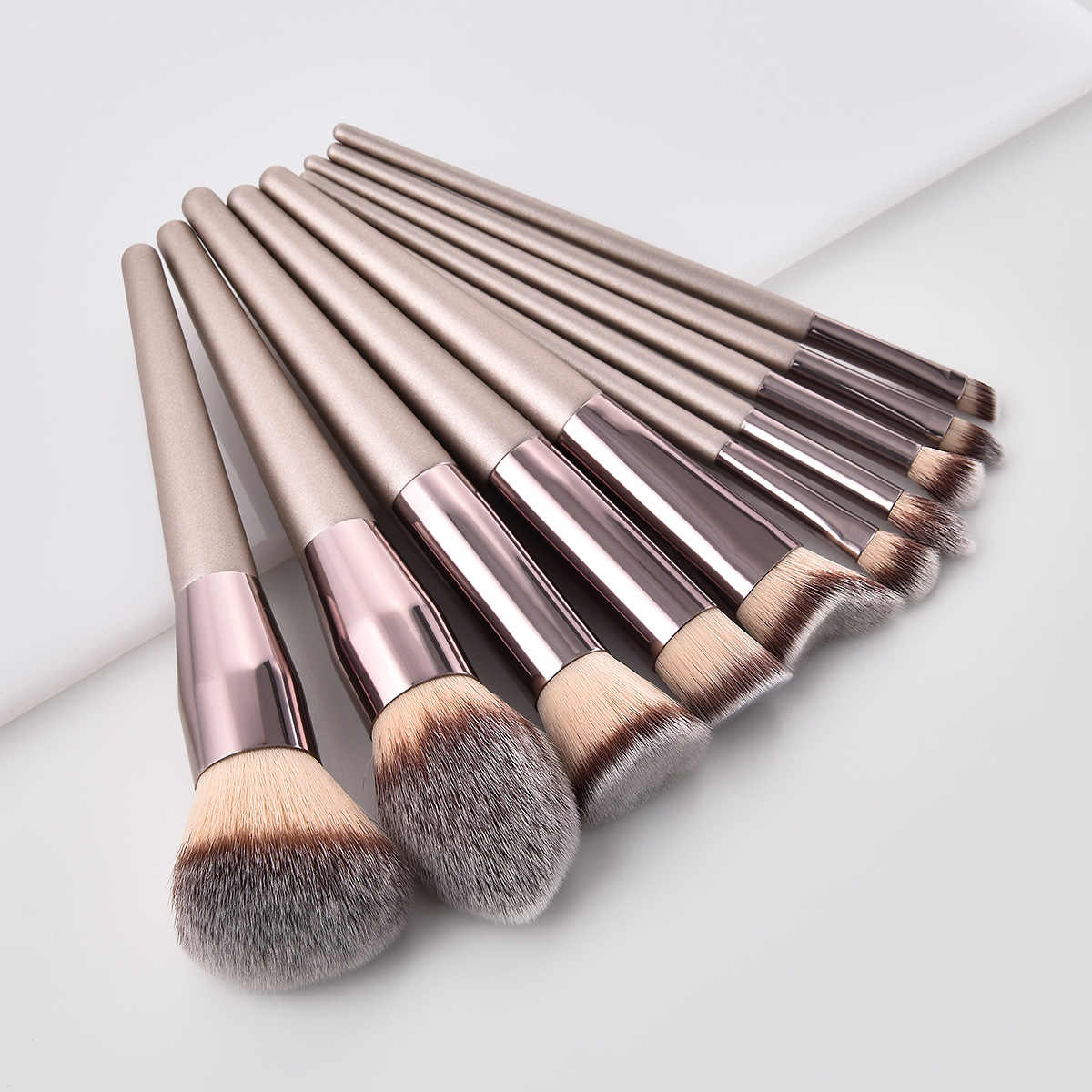 Luxe Champagne Make-Up Kwasten Foundation Poeder Blush Oogschaduw Wimper Concealer Lip Eye Blending Brush Make Up Kwasten Set