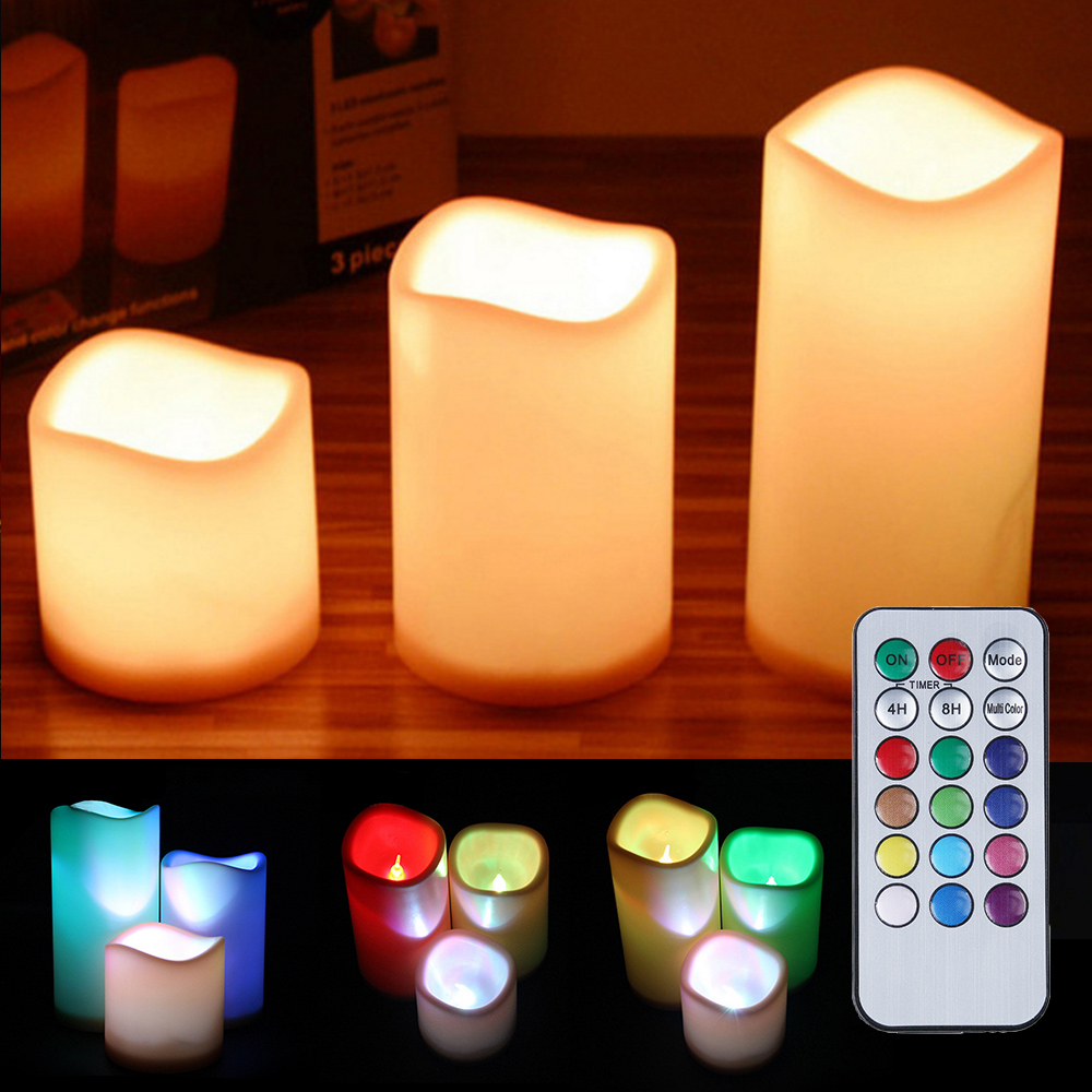 LED Candles Light Night Lights Battery Operated Led Flickering Pillar Candles Indoor Outdoor Decor Lamp For Home Party Wedding